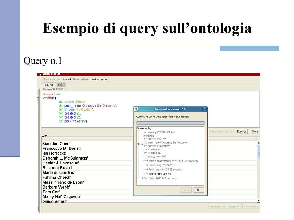 Esempio di query sullontologia Query n.1