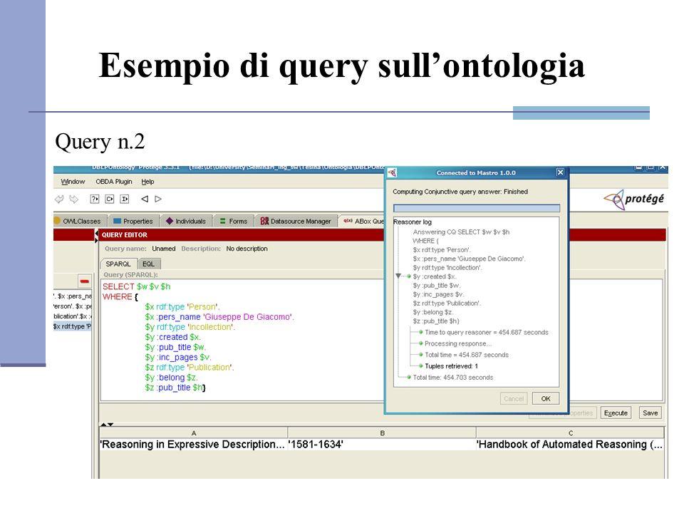 Esempio di query sullontologia Query n.2