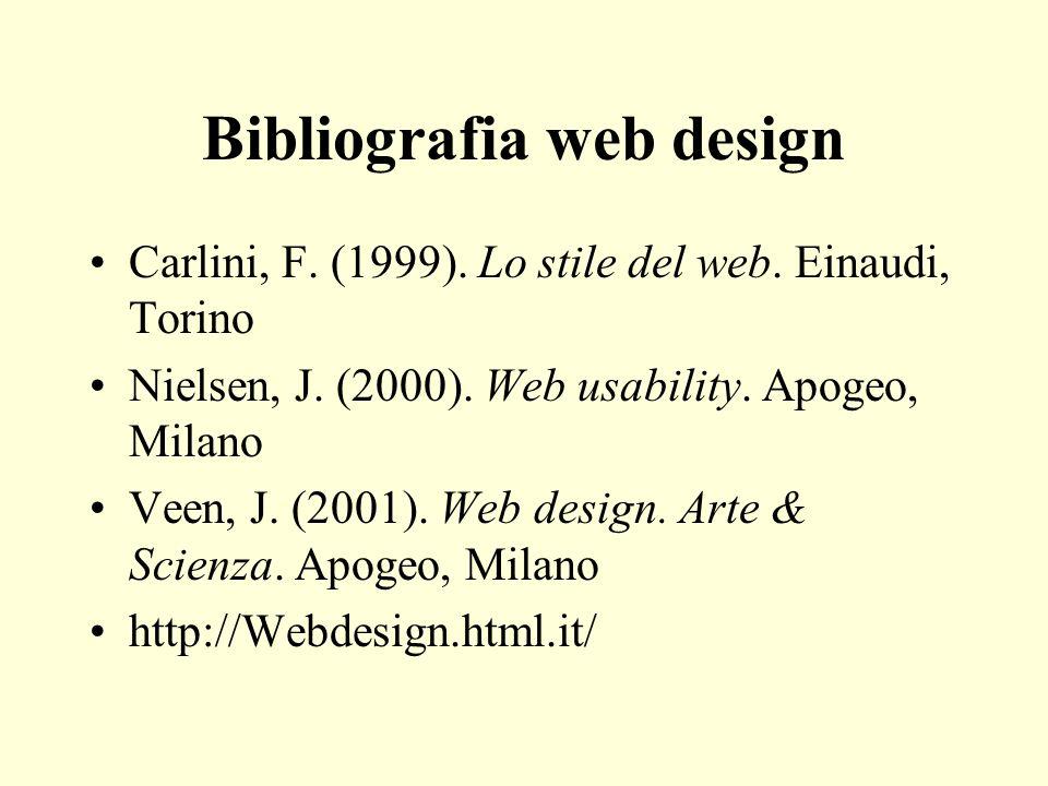 Bibliografia web design Carlini, F. (1999). Lo stile del web. Einaudi, Torino Nielsen, J. (2000). Web usability. Apogeo, Milano Veen, J. (2001). Web d
