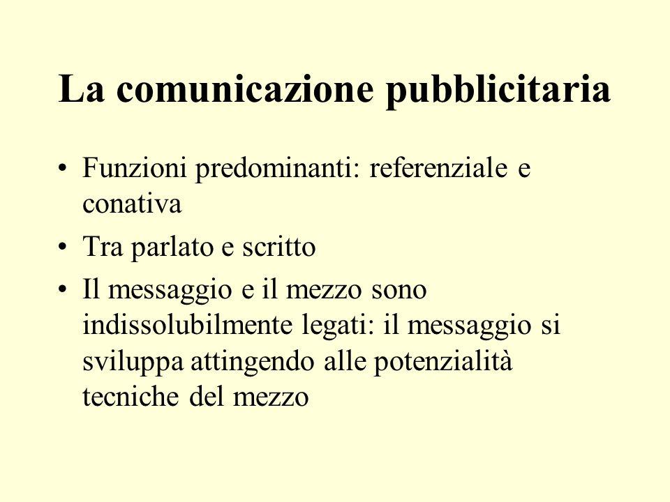 La comunicazione pubblicitaria Funzioni predominanti: referenziale e conativa Tra parlato e scritto Il messaggio e il mezzo sono indissolubilmente leg
