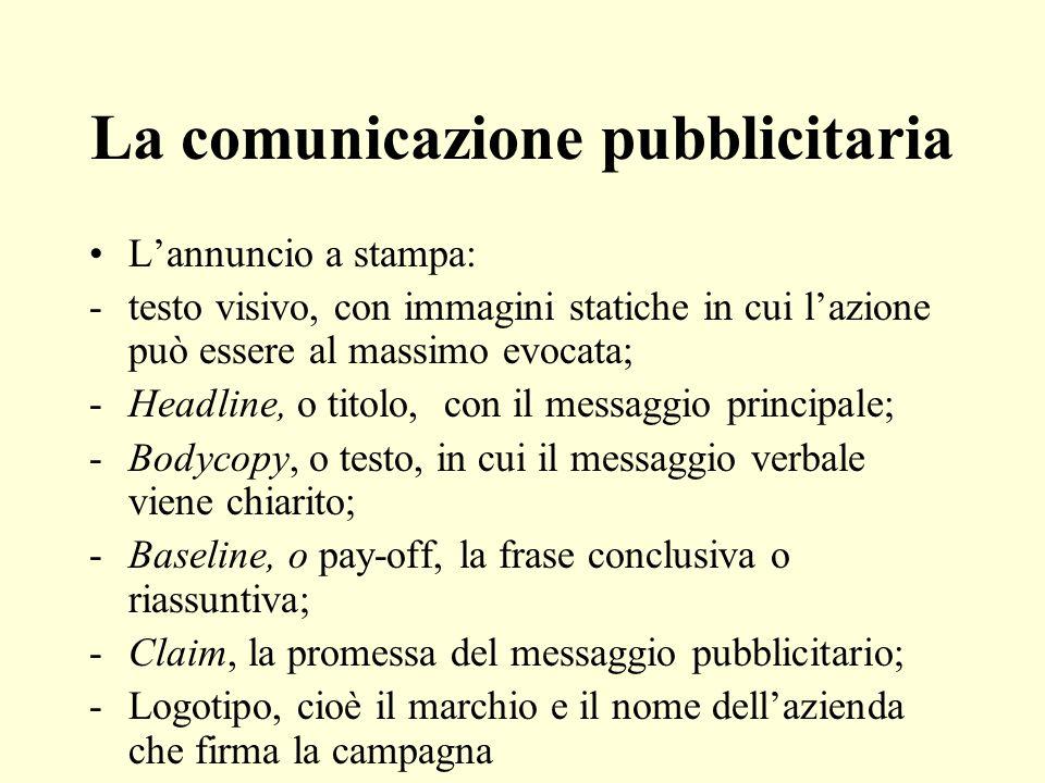 La comunicazione pubblicitaria Lannuncio a stampa: -testo visivo, con immagini statiche in cui lazione può essere al massimo evocata; -Headline, o tit