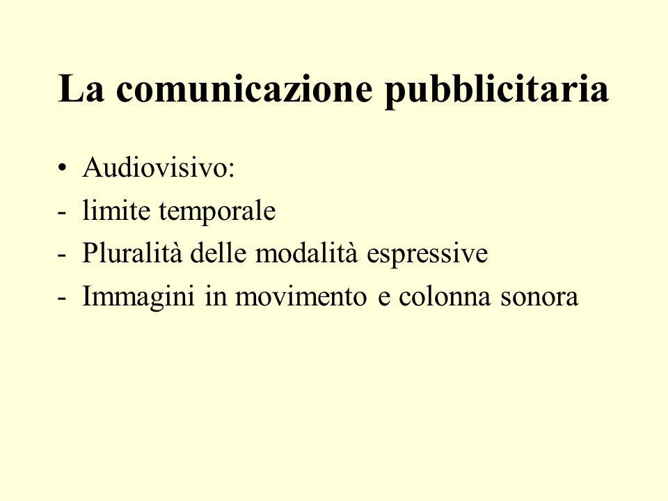 La comunicazione pubblicitaria Audiovisivo: -limite temporale -Pluralità delle modalità espressive -Immagini in movimento e colonna sonora