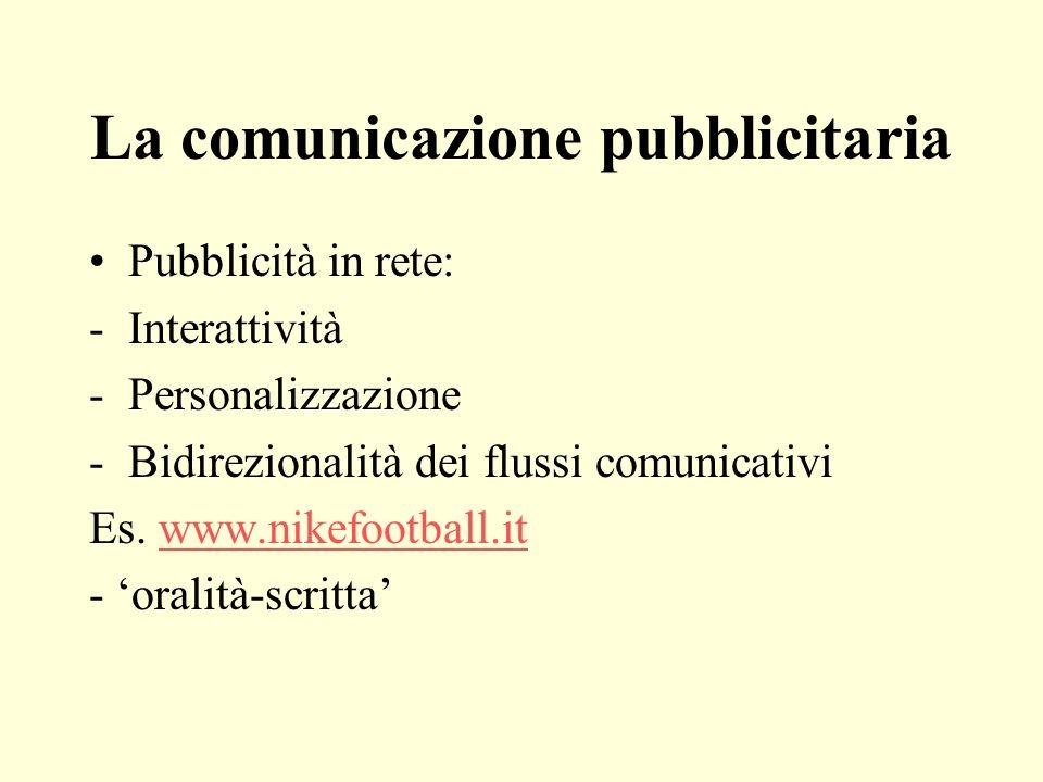 La comunicazione pubblicitaria Pubblicità in rete: -Interattività -Personalizzazione -Bidirezionalità dei flussi comunicativi Es. www.nikefootball.itw