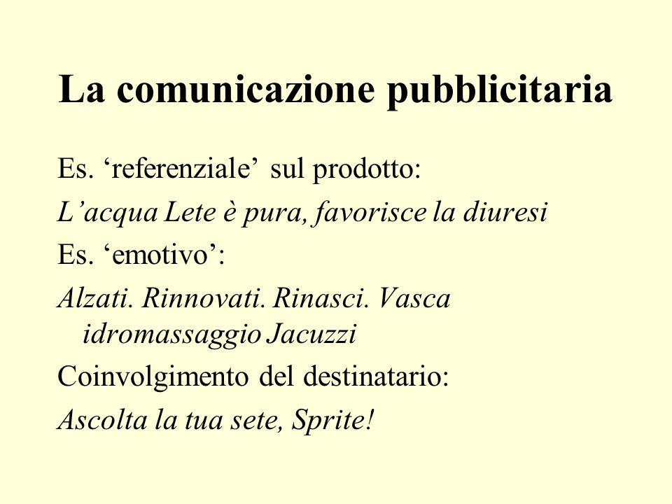 La comunicazione pubblicitaria Es. referenziale sul prodotto: Lacqua Lete è pura, favorisce la diuresi Es. emotivo: Alzati. Rinnovati. Rinasci. Vasca