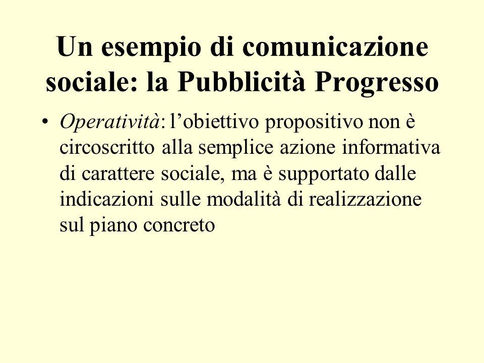 Un esempio di comunicazione sociale: la Pubblicità Progresso Operatività: lobiettivo propositivo non è circoscritto alla semplice azione informativa d