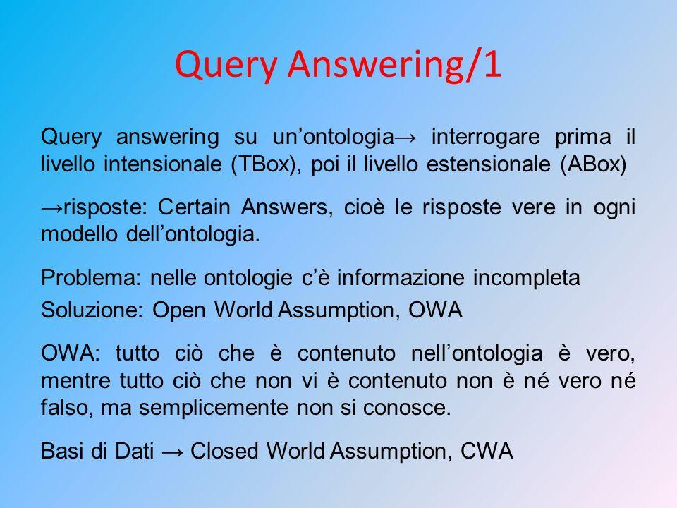 Query Answering/1 Query answering su unontologia interrogare prima il livello intensionale (TBox), poi il livello estensionale (ABox) risposte: Certai