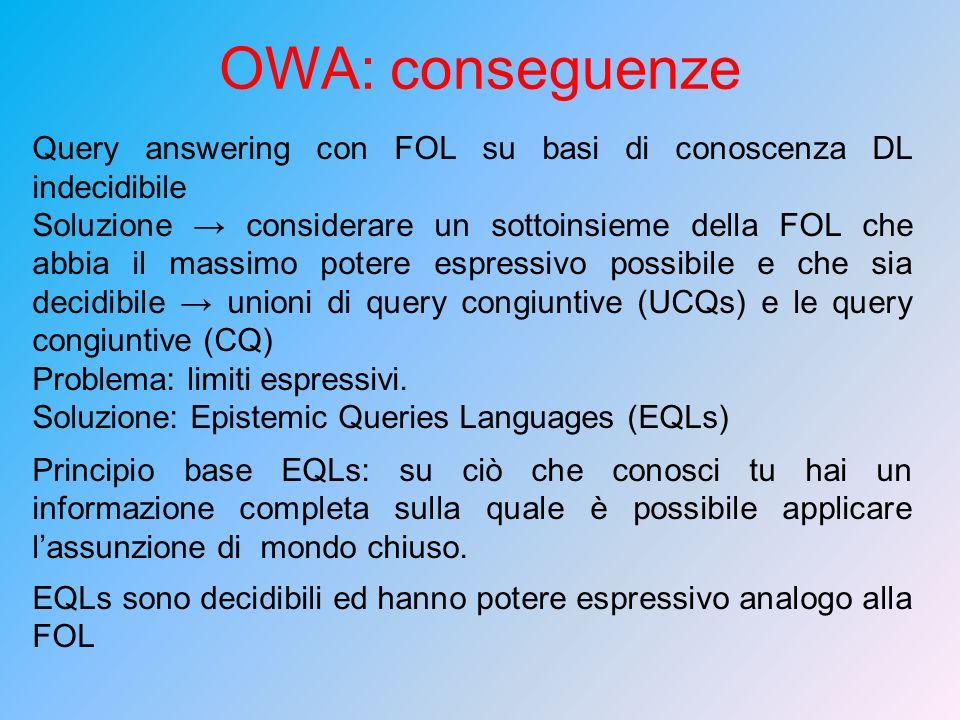 Query answering con FOL su basi di conoscenza DL indecidibile Soluzione considerare un sottoinsieme della FOL che abbia il massimo potere espressivo p