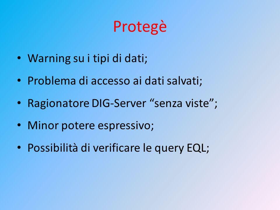 Protegè Warning su i tipi di dati; Problema di accesso ai dati salvati; Ragionatore DIG-Server senza viste; Minor potere espressivo; Possibilità di ve