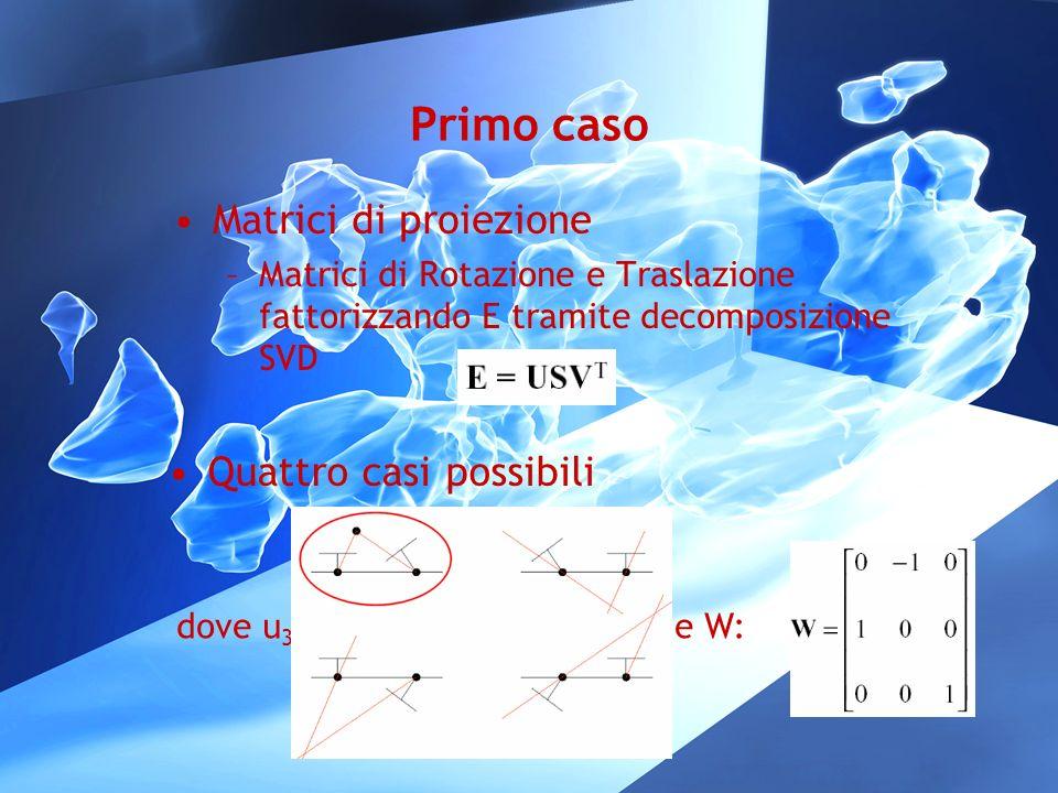 Primo caso Matrici di proiezione –Matrici di Rotazione e Traslazione fattorizzando E tramite decomposizione SVD Quattro casi possibili dove u 3 è la t