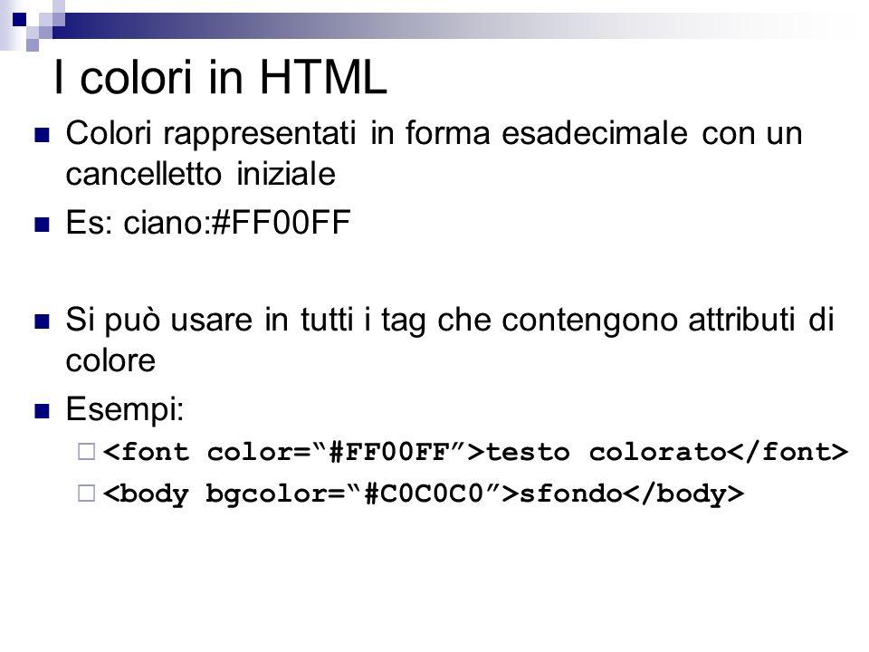 I colori in HTML Colori rappresentati in forma esadecimale con un cancelletto iniziale Es: ciano:#FF00FF Si può usare in tutti i tag che contengono attributi di colore Esempi: testo colorato sfondo