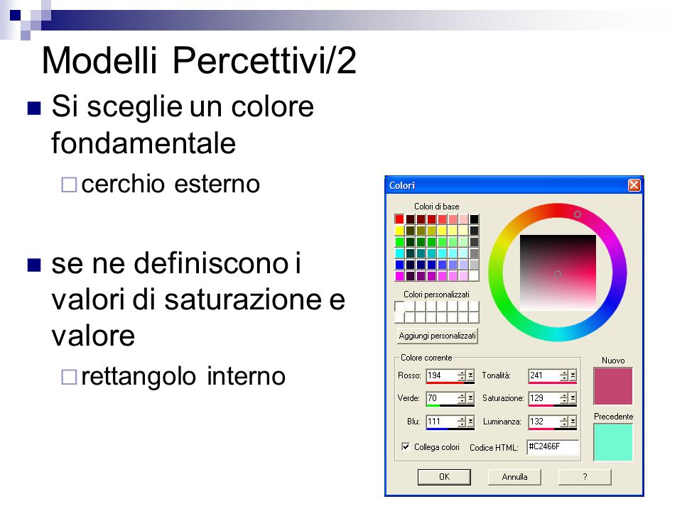 Modelli Percettivi/2 Si sceglie un colore fondamentale cerchio esterno se ne definiscono i valori di saturazione e valore rettangolo interno