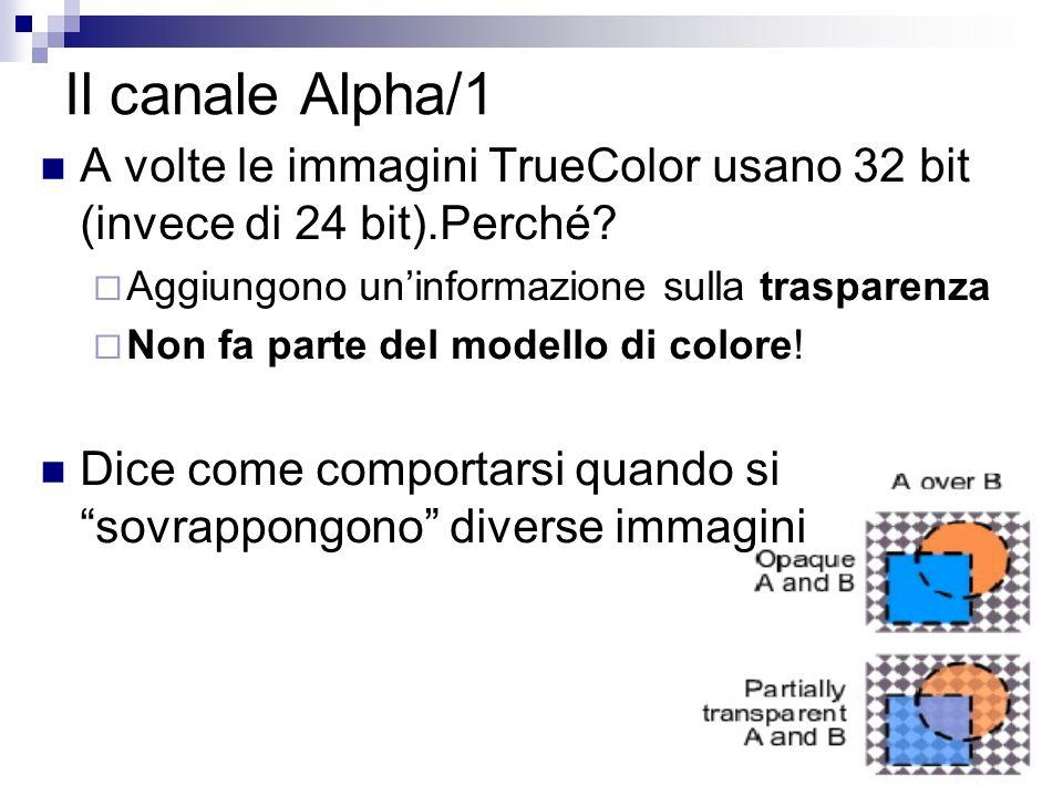 Il canale Alpha/1 A volte le immagini TrueColor usano 32 bit (invece di 24 bit).Perché.