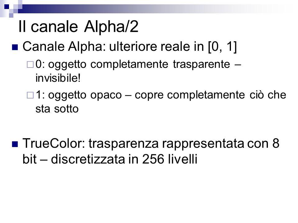 Il canale Alpha/2 Canale Alpha: ulteriore reale in [0, 1] 0: oggetto completamente trasparente – invisibile.