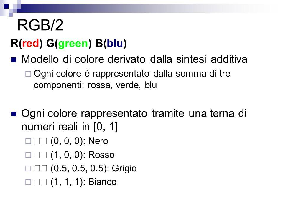 RGB/2 R(red) G(green) B(blu) Modello di colore derivato dalla sintesi additiva Ogni colore è rappresentato dalla somma di tre componenti: rossa, verde, blu Ogni colore rappresentato tramite una terna di numeri reali in [0, 1] (0, 0, 0): Nero (1, 0, 0): Rosso (0.5, 0.5, 0.5): Grigio (1, 1, 1): Bianco