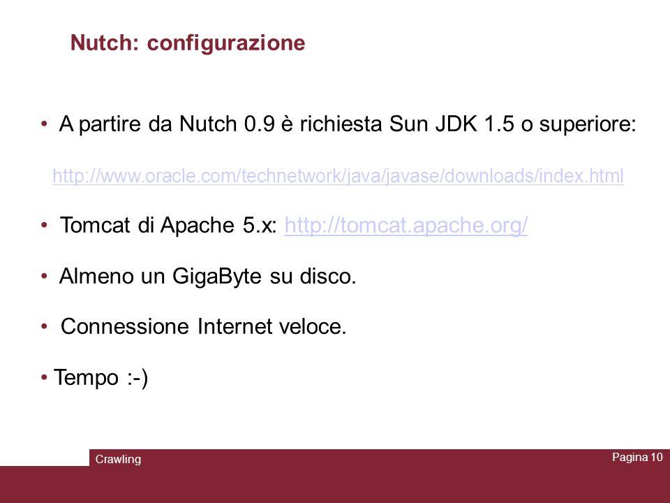 Crawling Pagina 10 Nutch: configurazione A partire da Nutch 0.9 è richiesta Sun JDK 1.5 o superiore: http://www.oracle.com/technetwork/java/javase/dow