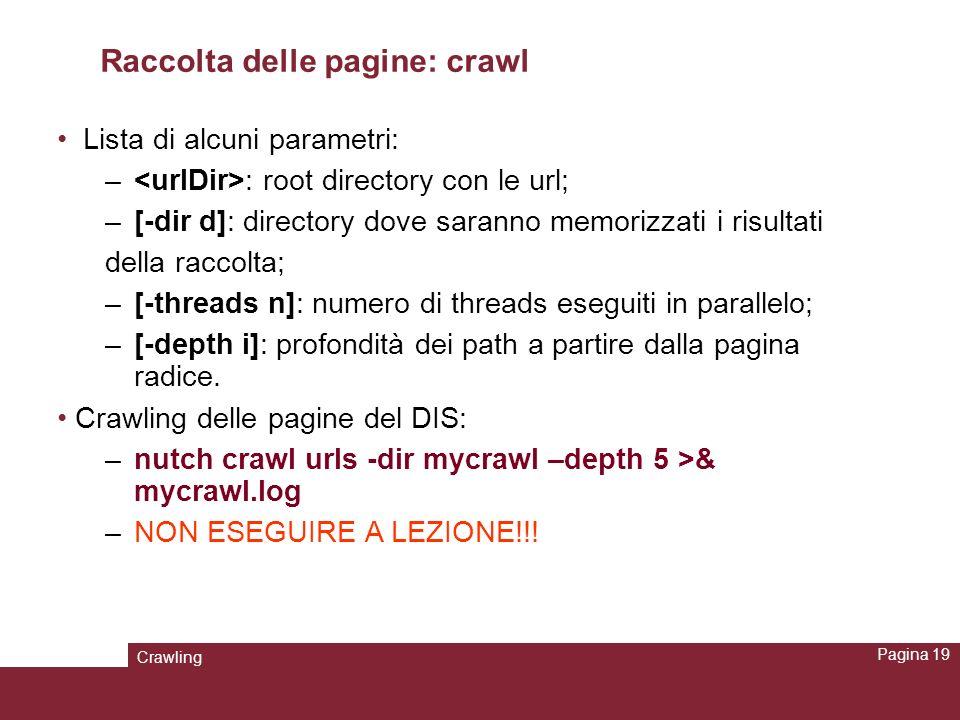 Crawling Pagina 19 Raccolta delle pagine: crawl Lista di alcuni parametri: – : root directory con le url; –[-dir d]: directory dove saranno memorizzat
