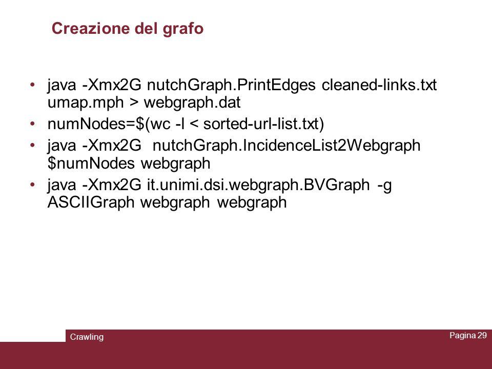Crawling Pagina 29 Creazione del grafo java -Xmx2G nutchGraph.PrintEdges cleaned-links.txt umap.mph > webgraph.dat numNodes=$(wc -l < sorted-url-list.