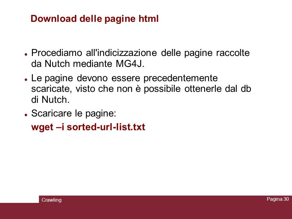 Crawling Pagina 30 Download delle pagine html Procediamo all'indicizzazione delle pagine raccolte da Nutch mediante MG4J. Le pagine devono essere prec