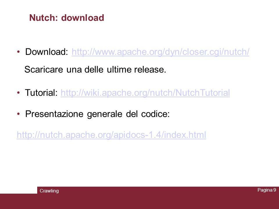 Crawling Pagina 10 Nutch: configurazione A partire da Nutch 0.9 è richiesta Sun JDK 1.5 o superiore: http://www.oracle.com/technetwork/java/javase/downloads/index.html Tomcat di Apache 5.x: http://tomcat.apache.org/http://tomcat.apache.org/ Almeno un GigaByte su disco.