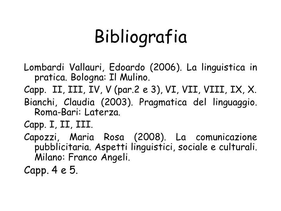 Bibliografia Lombardi Vallauri, Edoardo (2006).La linguistica in pratica.
