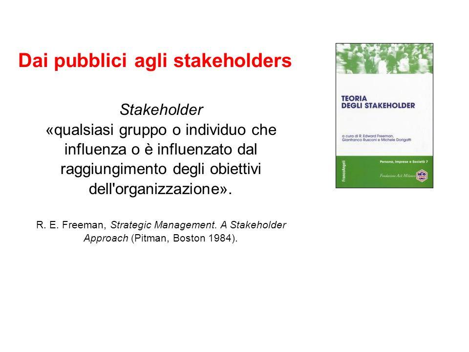 Dai pubblici agli stakeholders Stakeholder «qualsiasi gruppo o individuo che influenza o è influenzato dal raggiungimento degli obiettivi dell organizzazione».