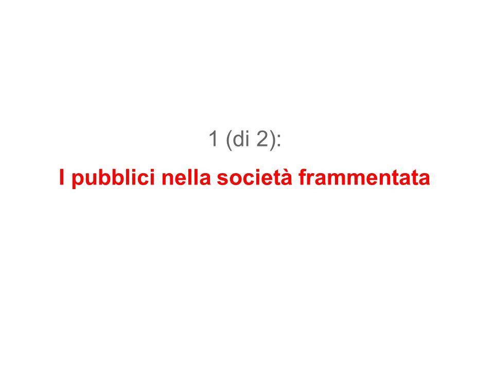 1 (di 2): I pubblici nella società frammentata
