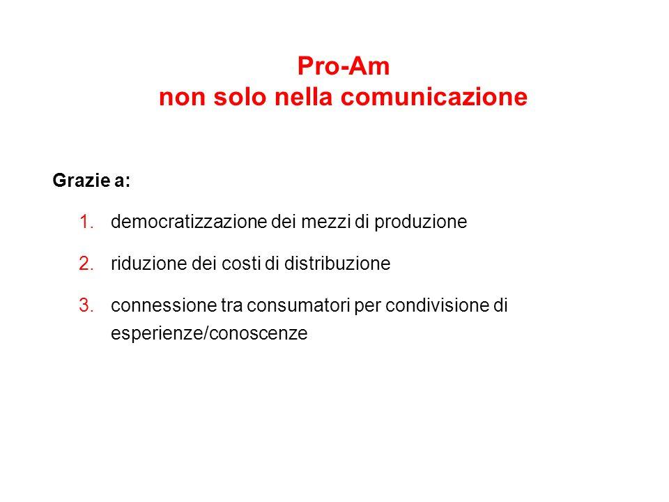 Pro-Am non solo nella comunicazione Grazie a: 1. democratizzazione dei mezzi di produzione 2.