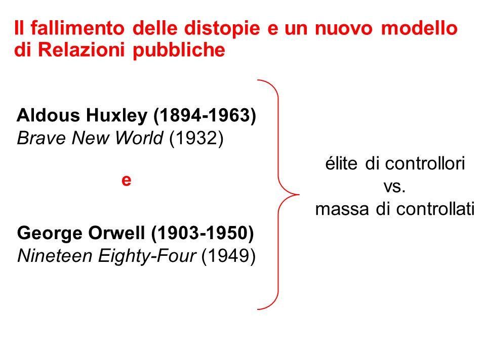 Il fallimento delle distopie e un nuovo modello di Relazioni pubbliche Aldous Huxley (1894-1963) Brave New World (1932) George Orwell (1903-1950) Nineteen Eighty-Four (1949) e élite di controllori vs.