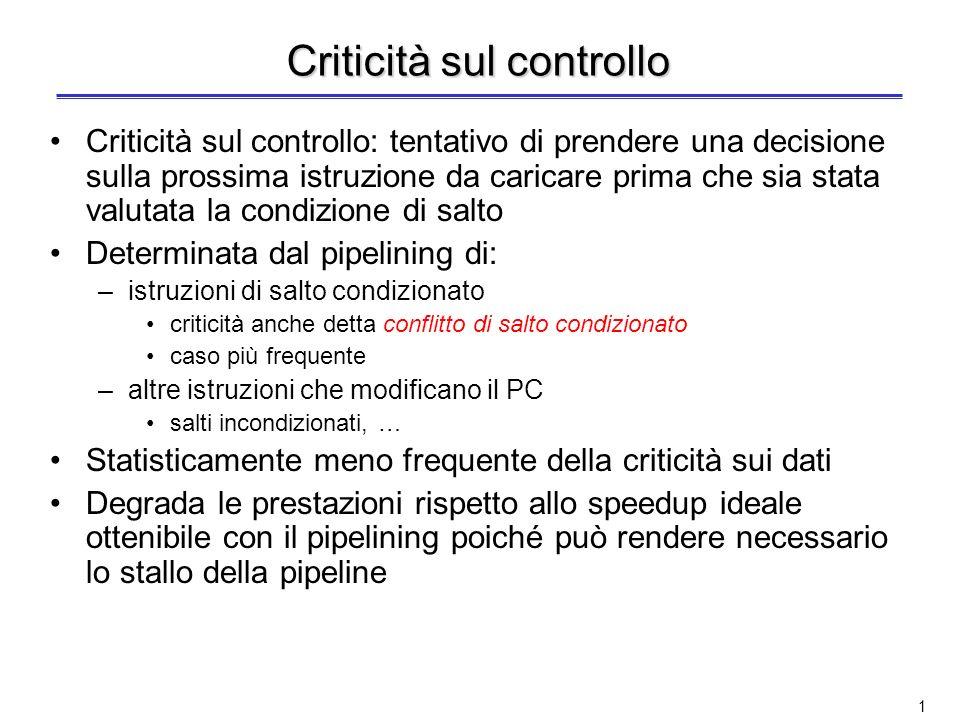 Il pipelining: criticità sul controllo ed eccezioni Lucidi fatti in collaborazione con lIng. Valeria Cardellini