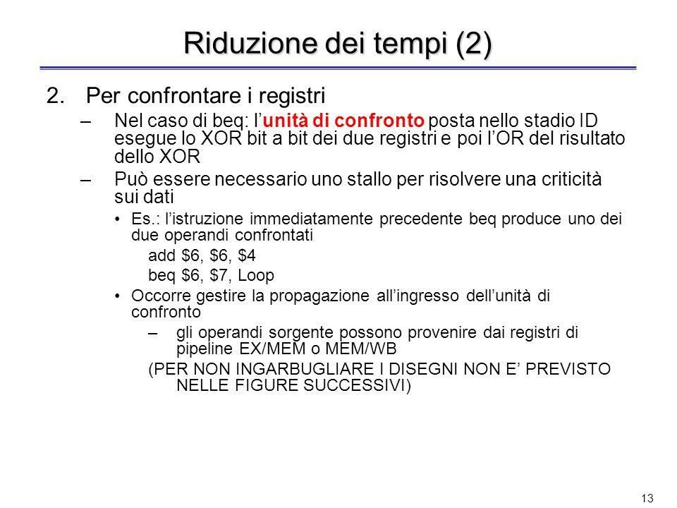 12 Terza soluzione: Riduzione dei tempi Si anticipa la decisione sul salto ad uno stadio precedente a MEM Occorre anticipare tre azioni 1.Calcolare li