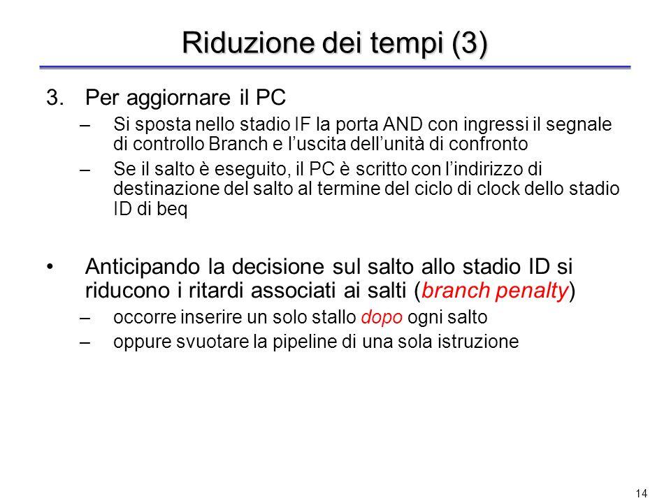 13 Riduzione dei tempi (2) 2.Per confrontare i registri –Nel caso di beq: lunità di confronto posta nello stadio ID esegue lo XOR bit a bit dei due re