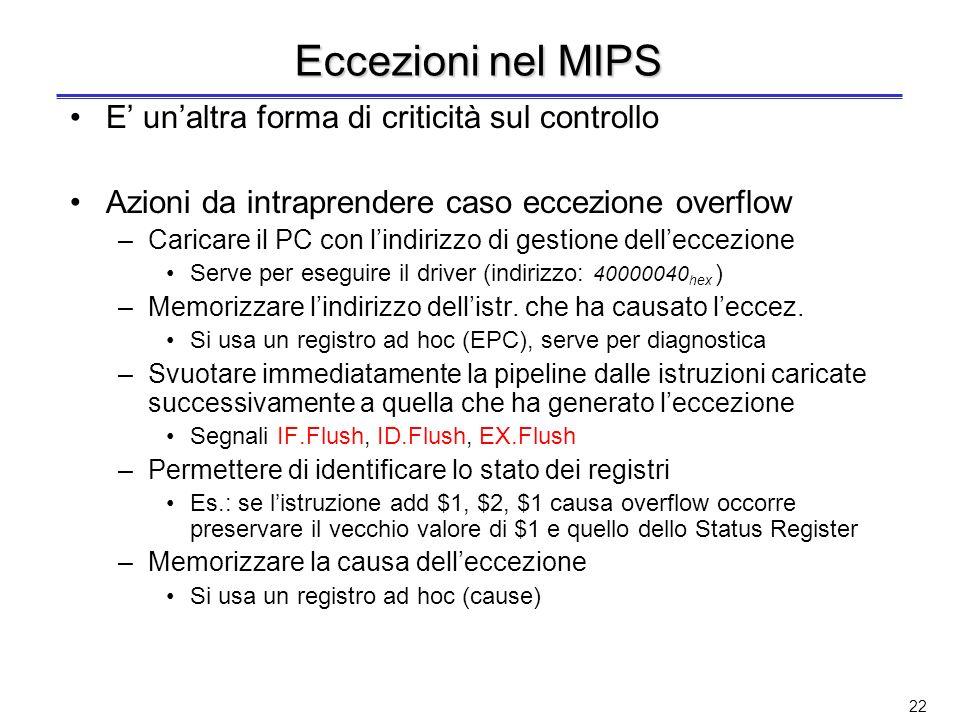 Interruzioni ed eccezioni nel MIPS Gergo MIPS (ma abbastanza usato come terminologia anche da altri costruttori) Interruzioni (interrupts) eventi este