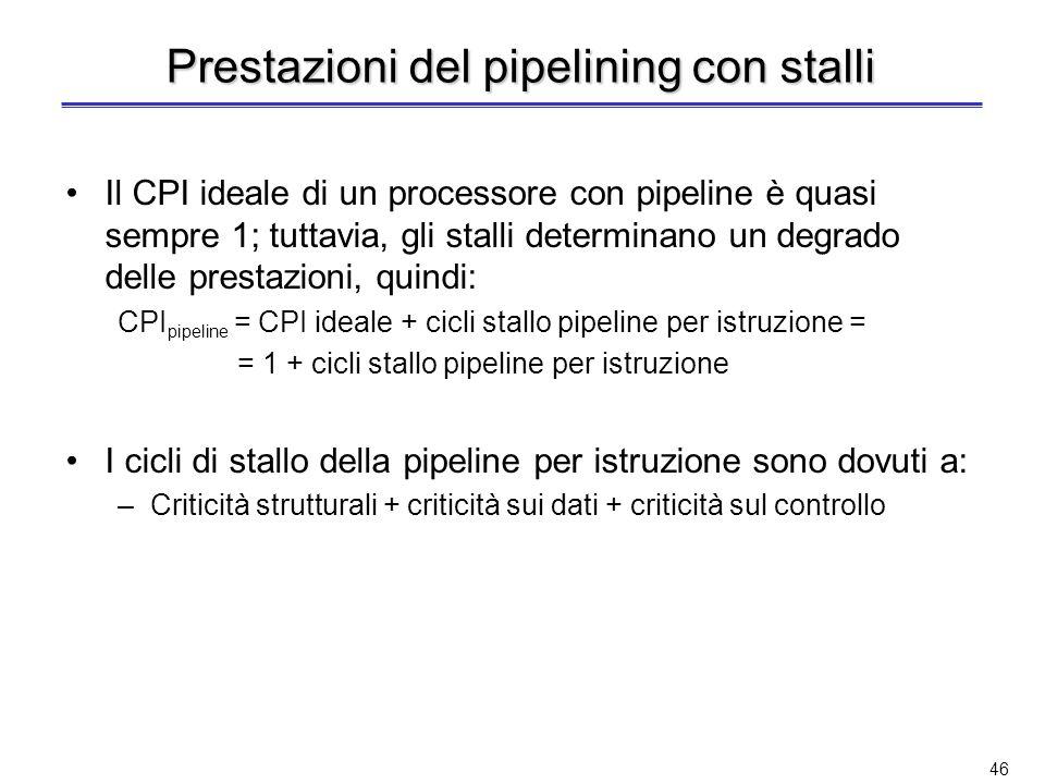 45 Prestazioni del pipelining (2) Il tempo medio di esecuzione di unistruzione per il processore senza pipeline è: T medio esec. no pipeline = CPI med