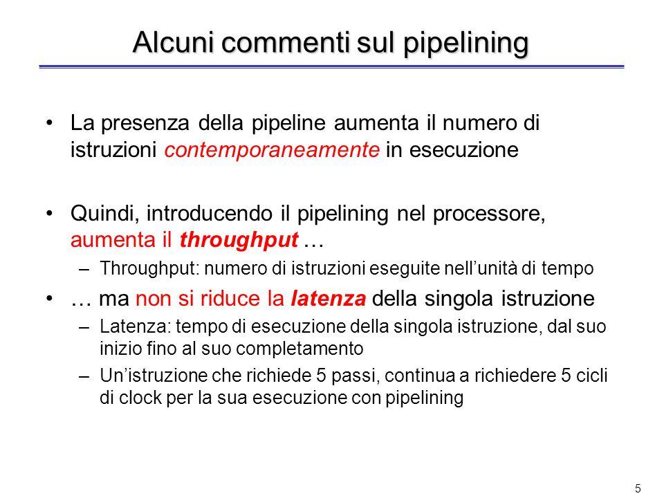 45 Prestazioni del pipelining (2) Il tempo medio di esecuzione di unistruzione per il processore senza pipeline è: T medio esec.