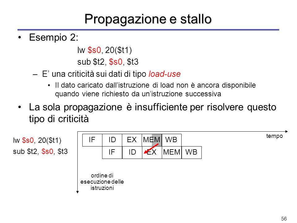 55 Propagazione (o forwarding) Esempio 1: quando la ALU genera il risultato, questo viene subito messo a disposizione per il passo dellistruzione che segue tramite una propagazione in avanti scritturalettura