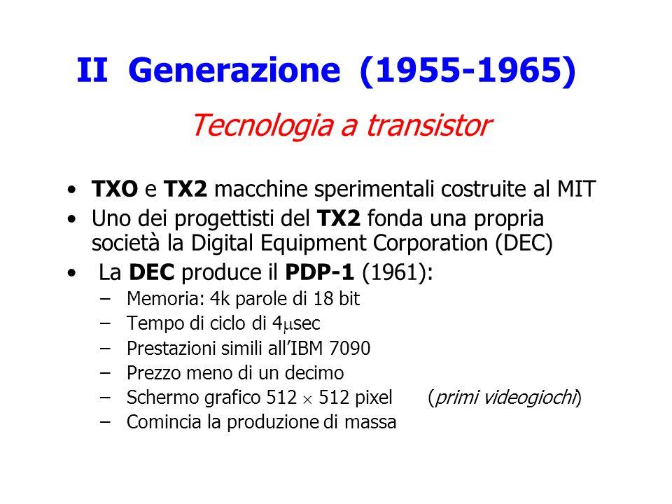 II Generazione (1955-1965) Tecnologia a transistor TXO e TX2 macchine sperimentali costruite al MIT Uno dei progettisti del TX2 fonda una propria soci