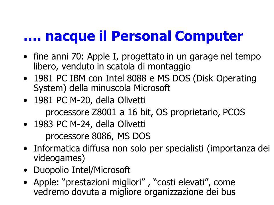 …. nacque il Personal Computer fine anni 70: Apple I, progettato in un garage nel tempo libero, venduto in scatola di montaggio 1981 PC IBM con Intel