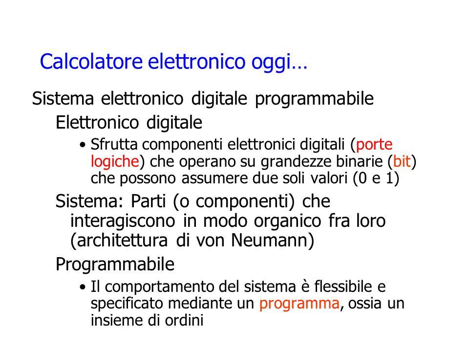 Calcolatore elettronico oggi… Sistema elettronico digitale programmabile Elettronico digitale Sfrutta componenti elettronici digitali (porte logiche)