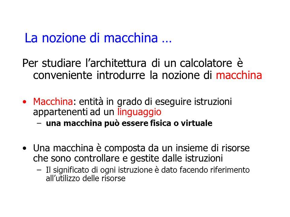 La nozione di macchina … Per studiare larchitettura di un calcolatore è conveniente introdurre la nozione di macchina Macchina: entità in grado di ese