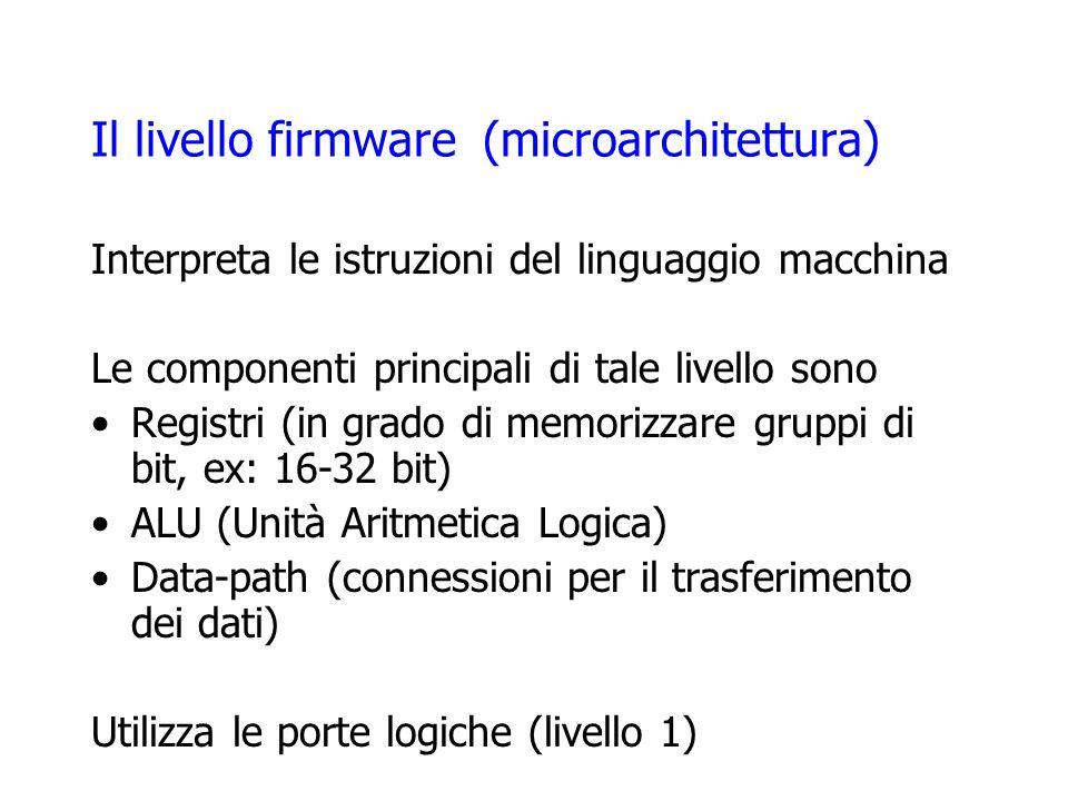 Il livello firmware (microarchitettura) Interpreta le istruzioni del linguaggio macchina Le componenti principali di tale livello sono Registri (in grado di memorizzare gruppi di bit, ex: 16-32 bit) ALU (Unità Aritmetica Logica) Data-path (connessioni per il trasferimento dei dati) Utilizza le porte logiche (livello 1)