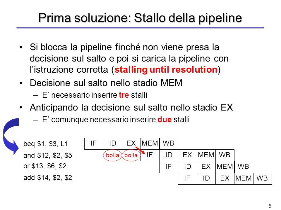5 Prima soluzione: Stallo della pipeline Si blocca la pipeline finché non viene presa la decisione sul salto e poi si carica la pipeline con listruzione corretta (stalling until resolution) Decisione sul salto nello stadio MEM –E necessario inserire tre stalli Anticipando la decisione sul salto nello stadio EX –E comunque necessario inserire due stalli IDIFEXMEM WB IDIFEXMEM WB IDIFEXMEM WB IDIFEXMEM WB beq $1, $3, L1 and $12, $2, $5 or $13, $6, $2 add $14, $2, $2 bolla