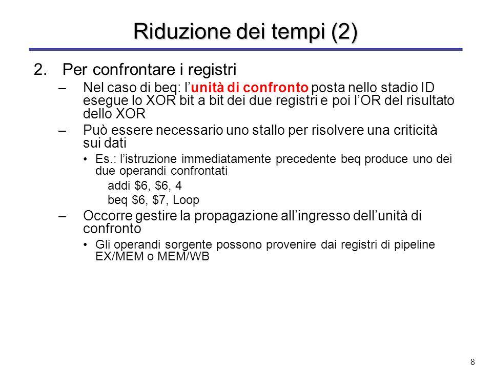 7 Terza soluzione: Riduzione dei tempi Si anticipa la decisione sul salto ad uno stadio precedente a MEM Occorre anticipare tre azioni 1.Calcolare lin