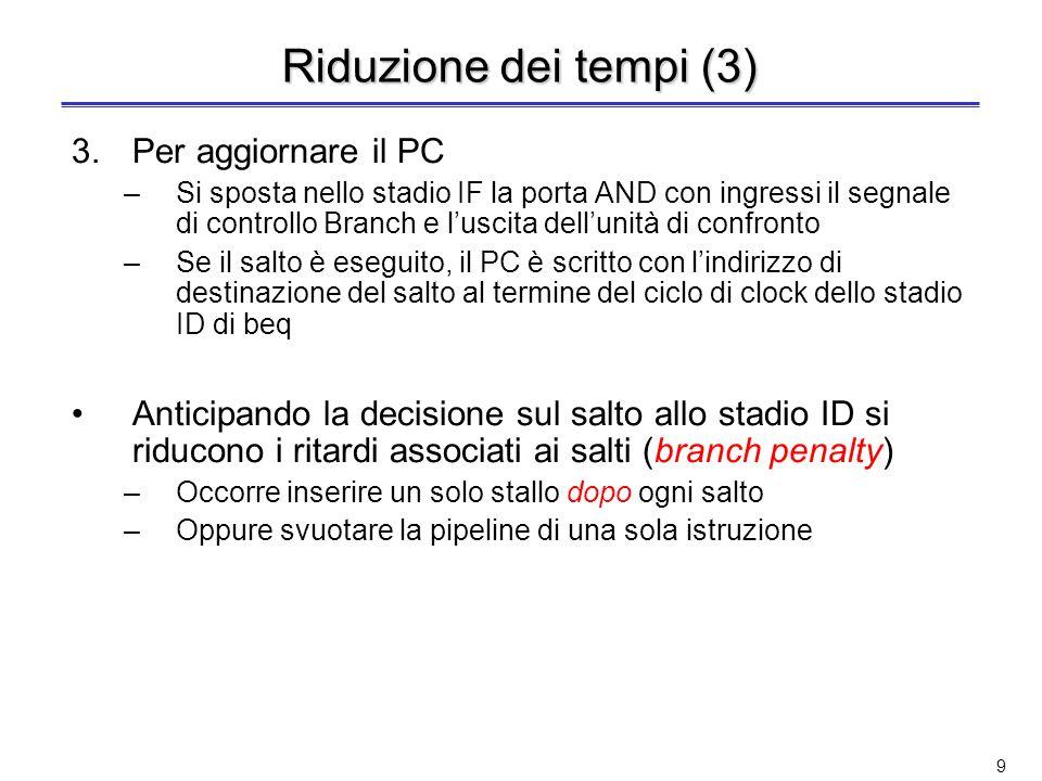 8 Riduzione dei tempi (2) 2.Per confrontare i registri –Nel caso di beq: lunità di confronto posta nello stadio ID esegue lo XOR bit a bit dei due reg