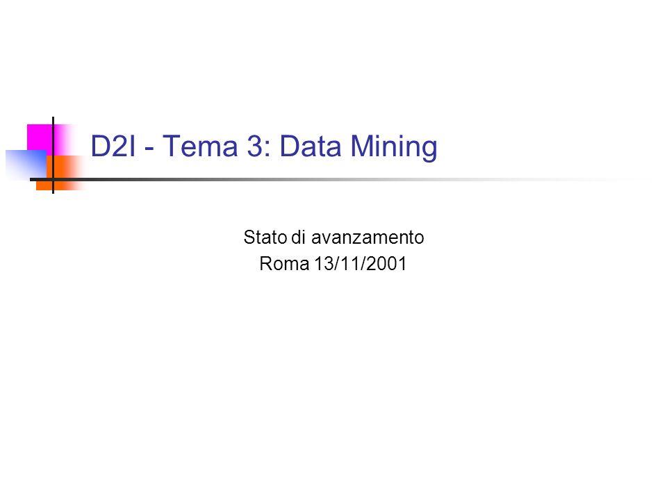 D2I - Tema 3: Data Mining Stato di avanzamento Roma 13/11/2001