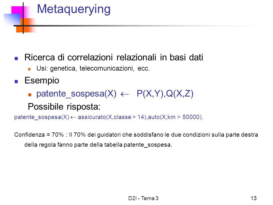 D2I - Tema 313 Metaquerying Ricerca di correlazioni relazionali in basi dati Usi: genetica, telecomunicazioni, ecc.