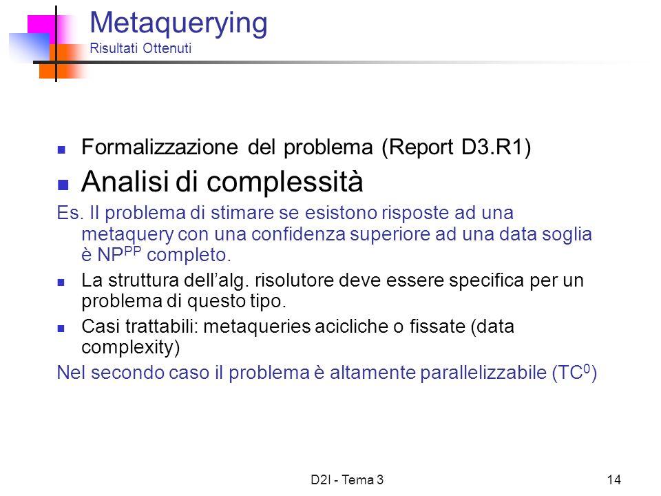 D2I - Tema 314 Metaquerying Risultati Ottenuti Formalizzazione del problema (Report D3.R1) Analisi di complessità Es. Il problema di stimare se esisto