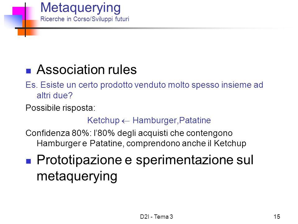 D2I - Tema 315 Metaquerying Ricerche in Corso/Sviluppi futuri Association rules Es. Esiste un certo prodotto venduto molto spesso insieme ad altri due