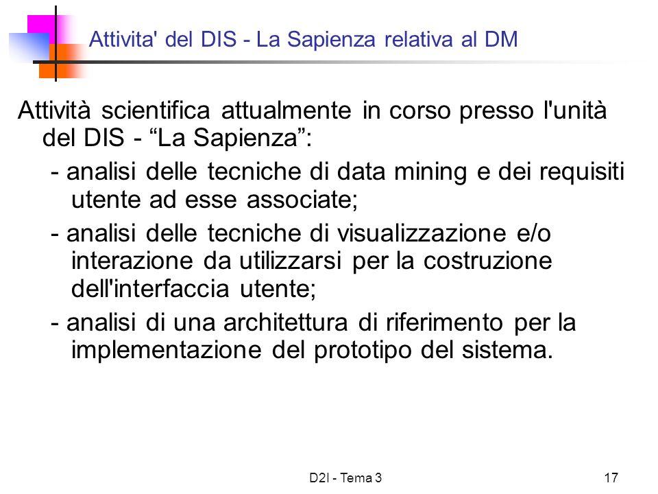 D2I - Tema 317 Attivita' del DIS - La Sapienza relativa al DM Attività scientifica attualmente in corso presso l'unità del DIS - La Sapienza: - analis