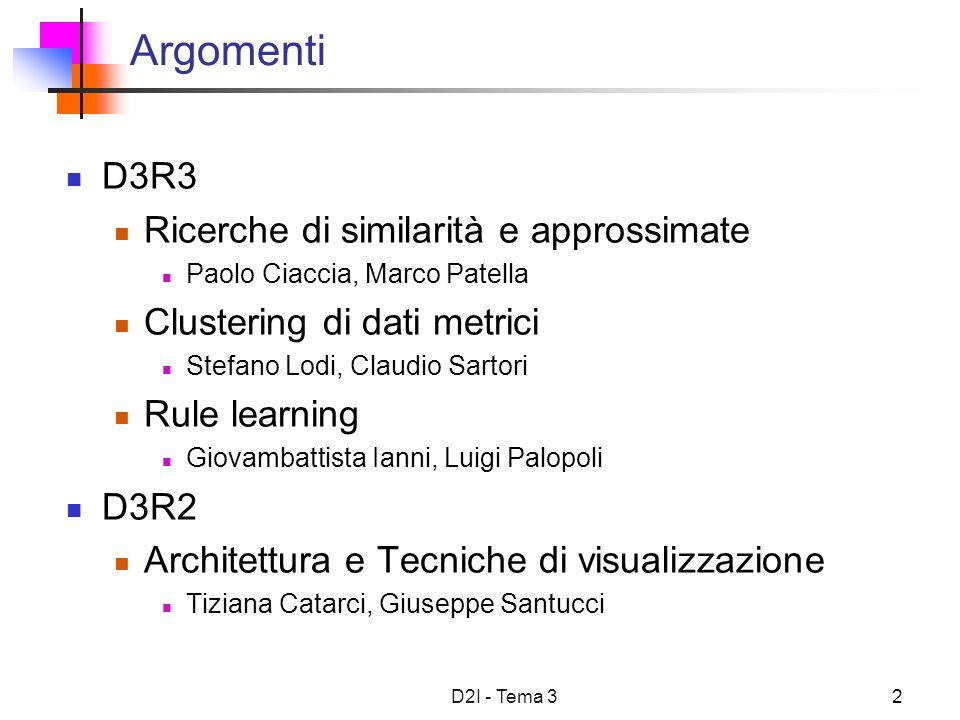 D2I - Tema 32 Argomenti D3R3 Ricerche di similarità e approssimate Paolo Ciaccia, Marco Patella Clustering di dati metrici Stefano Lodi, Claudio Sarto