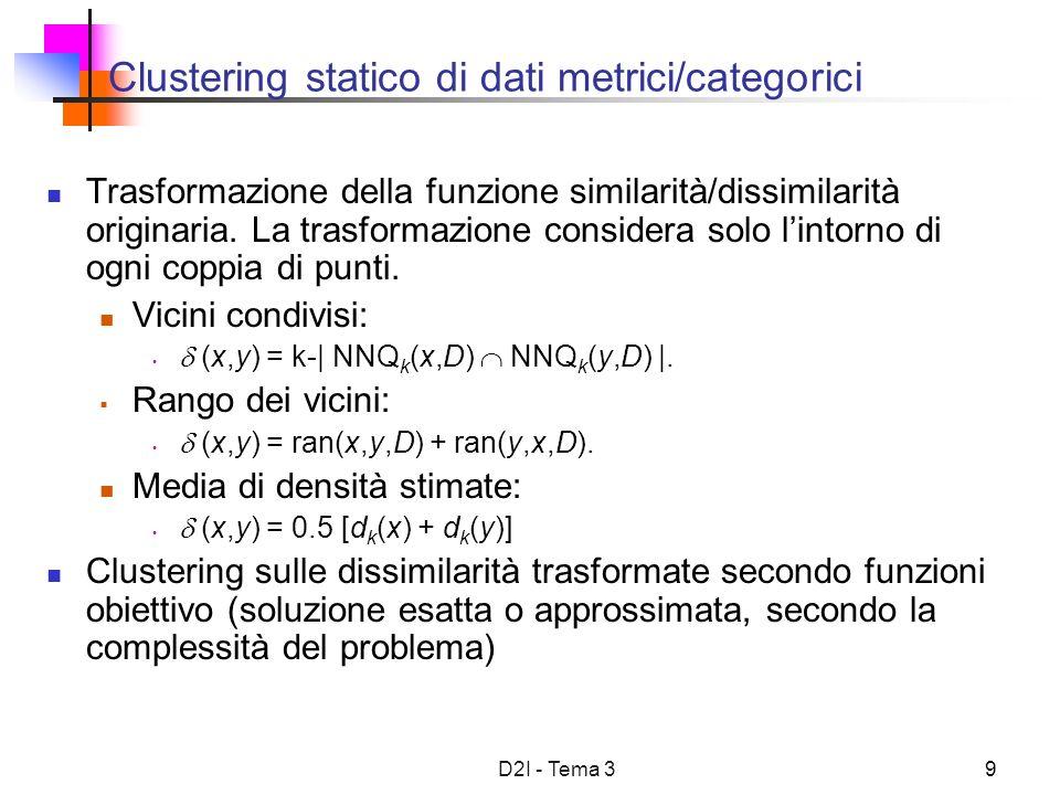 D2I - Tema 39 Clustering statico di dati metrici/categorici Trasformazione della funzione similarità/dissimilarità originaria.